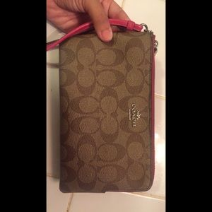Pink and brown coach signature wallet